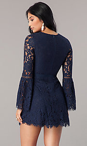 Image of long bell-sleeve short navy blue lace party dress. Style: MT-8840 Back Image