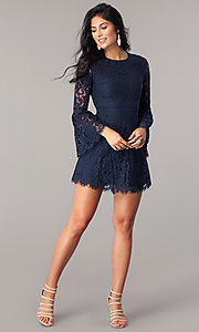 Image of long bell-sleeve short navy blue lace party dress. Style: MT-8840 Detail Image 1