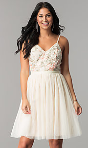 Image of short v-neck beige homecoming dress with embroidery. Style: MT-8762 Front Image