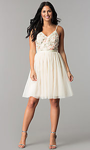 Image of short v-neck beige homecoming dress with embroidery. Style: MT-8762 Detail Image 2
