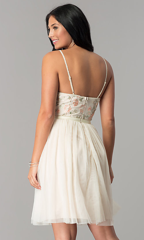 Image of short v-neck beige homecoming dress with embroidery. Style: MT-8762 Back Image