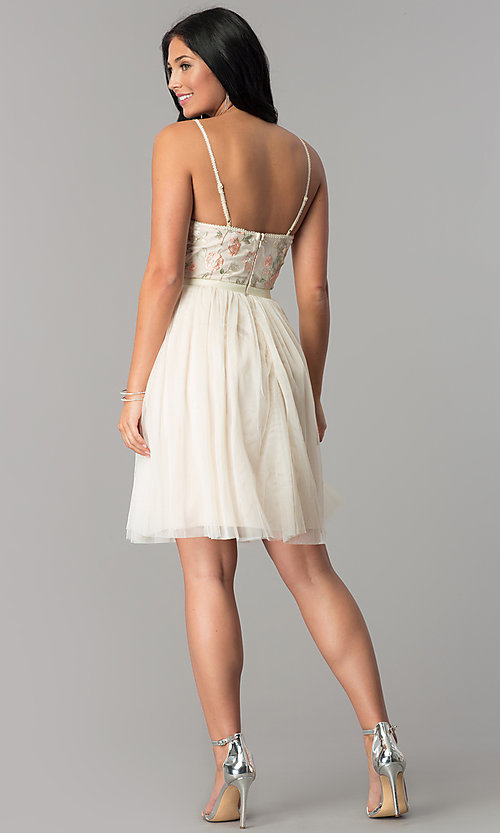 Image of short v-neck beige homecoming dress with embroidery. Style: MT-8762 Detail Image 3