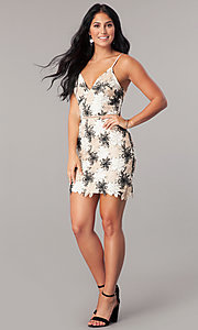 Image of v-neck short sheath party dress with floral lace. Style: MT-8744 Detail Image 1