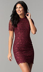 Open-Back Short Wine Lace Party Dress with Sleeves