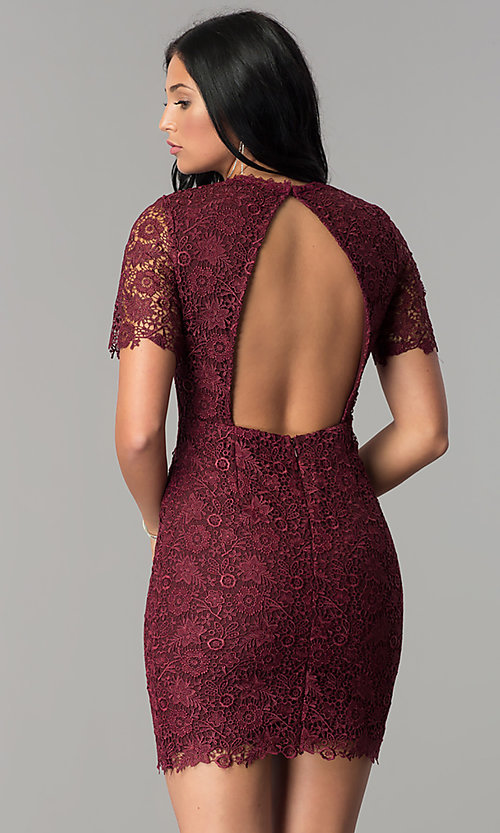 Image of open-back short wine lace party dress with sleeves. Style: MT-8757 Back Image