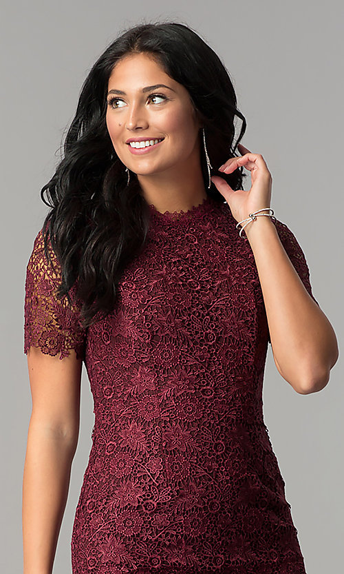 Image of open-back short wine lace party dress with sleeves. Style: MT-8757 Detail Image 1