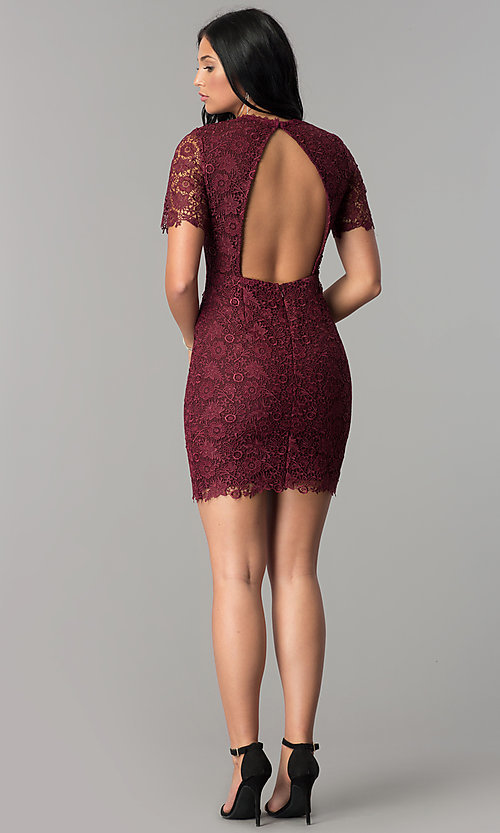 Image of open-back short wine lace party dress with sleeves. Style: MT-8757 Detail Image 3