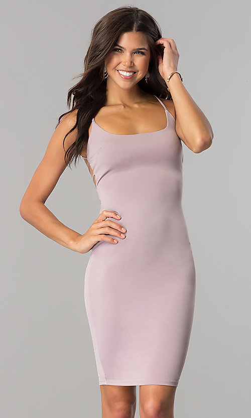 Image of short sheath party dress with multi-strap open back. Style: BLU-BD8485 Back Image