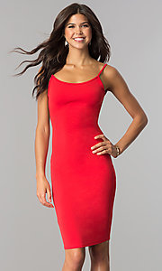 Image of knee-length open-back red party dress. Style: BLU-BD8469 Front Image