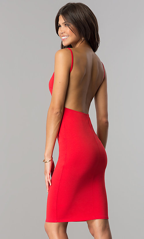 Image of knee-length open-back red party dress. Style: BLU-BD8469 Back Image