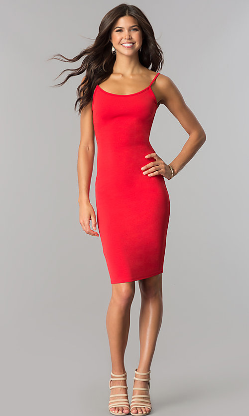 Image of knee-length open-back red party dress. Style: BLU-BD8469 Detail Image 1