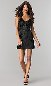Image of short v-neck black velvet party dress. Style: BLU-BD8216 Detail Image 1