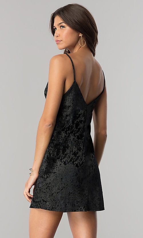 Image of short v-neck black velvet party dress. Style: BLU-BD8216 Back Image