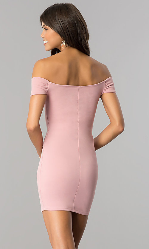 Image of short bodycon off-the-shoulder mini party dress. Style: BLU-BD8428 Back Image