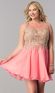 Image of short a-line plus homecoming party dress with lace. Style: FB-GS1336P Front Image