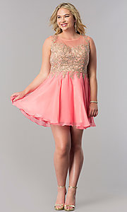 Image of short a-line plus homecoming party dress with lace. Style: FB-GS1336P Detail Image 1