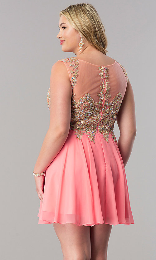 Image of short a-line plus homecoming party dress with lace. Style: FB-GS1336P Back Image