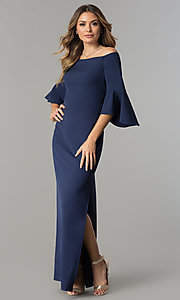 Off-the-Shoulder Long Navy Blue Formal Dress