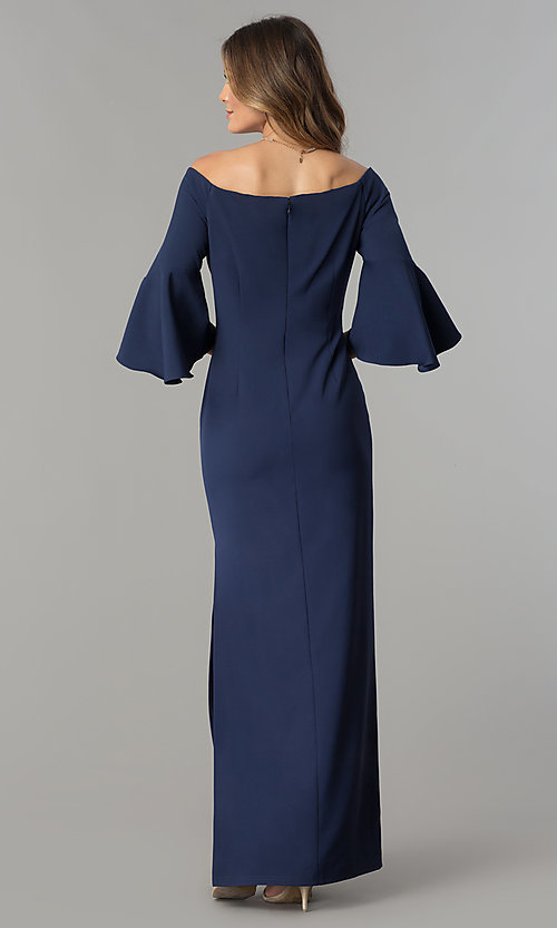 Image of off-the-shoulder long navy blue formal dress. Style: CN-58610 Back Image