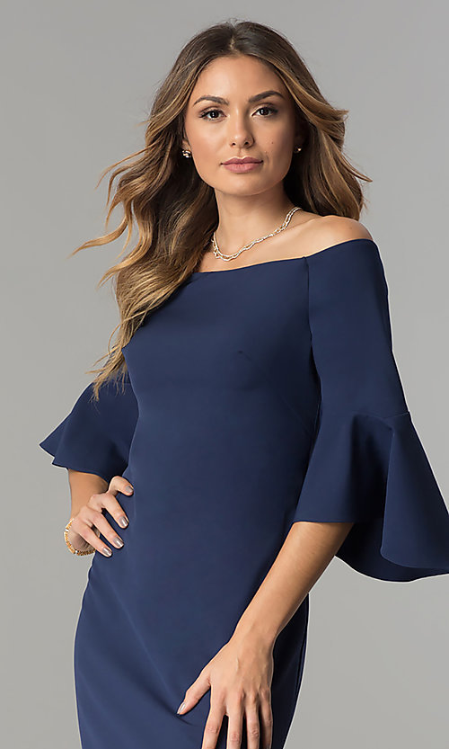 Image of off-the-shoulder long navy blue formal dress. Style: CN-58610 Detail Image 1