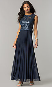 Long Navy Blue Mother-of-the-Bride Dress