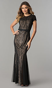 Long Sequin Embellished Mother-of-the-Bride Dress