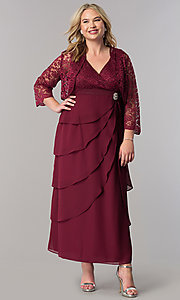 Image of sleeved mother-of-the-bride plus dress with jacket. Style: SF-8729P Detail Image 2