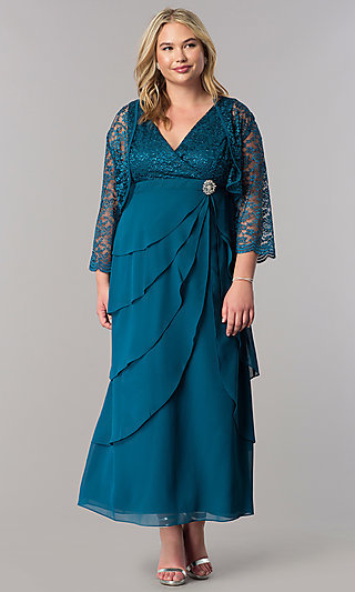 Sleeved Mother-of-the-Bride Plus Dress with Jacket