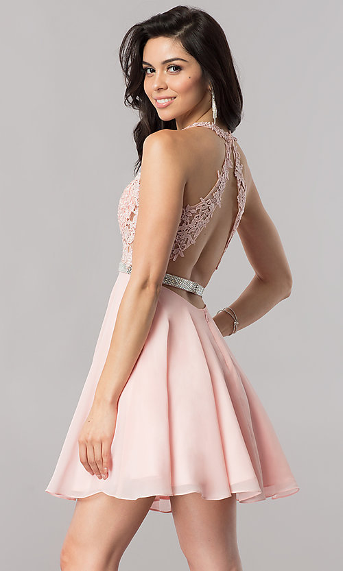 Image of short homecoming dress with sheer lace-applique bodice. Style: DQ-2048 Back Image