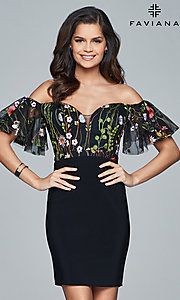 Embroidered Off-the-Shoulder Homecoming Dress
