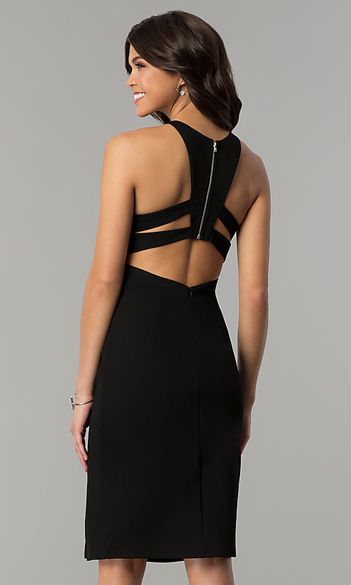 Image of knee-length open-back party dress with ruching. Style: AL-HL-108 Back Image