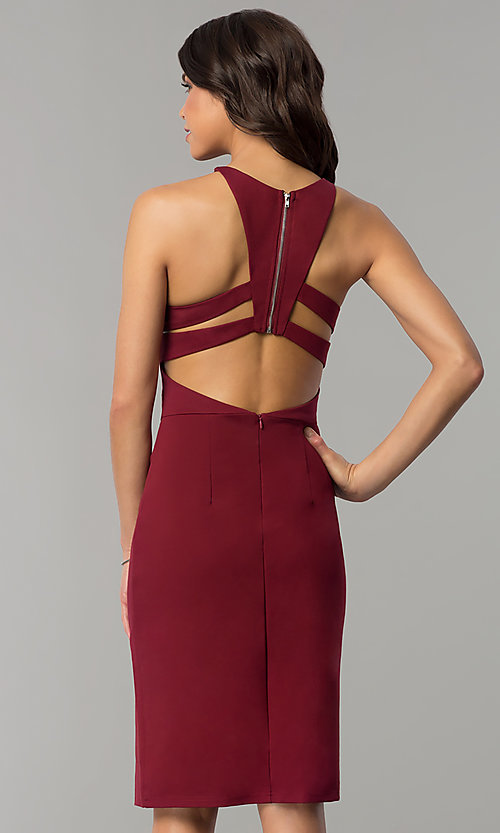 Image of knee-length open-back party dress with ruching. Style: AL-HL-108 Detail Image 3