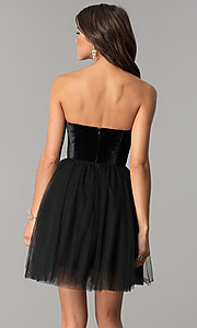 Image of short black homecoming dress in velvet and tulle. Style: AL-HL-101 Back Image