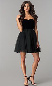 Image of short black homecoming dress in velvet and tulle. Style: AL-HL-101 Detail Image 2