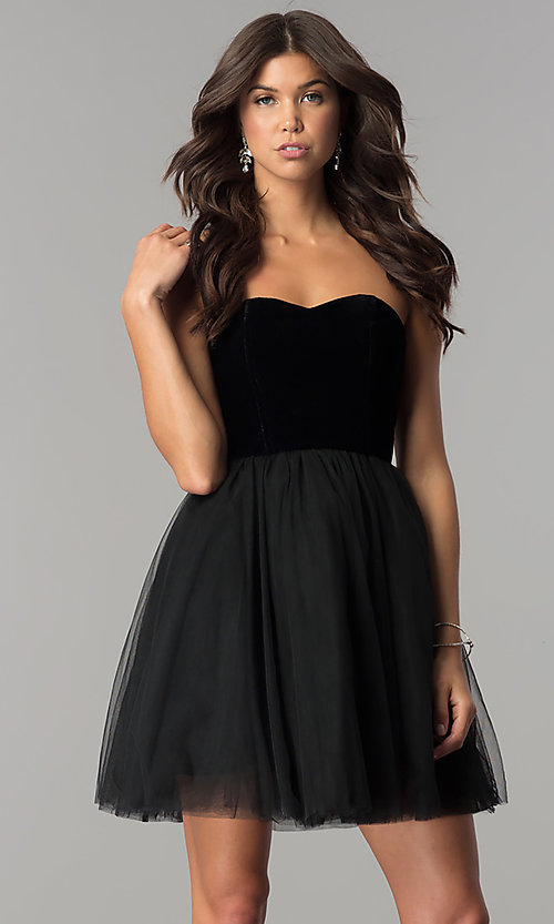 Image of short black homecoming dress in velvet and tulle. Style: AL-HL-101 Front Image