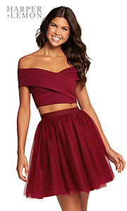 Image of two-piece off-the-shoulder a-line homecoming dress. Style: AL-HL-111 Front Image