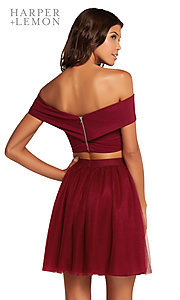 Image of two-piece off-the-shoulder a-line homecoming dress. Style: AL-HL-111 Back Image