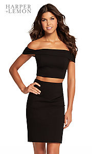 Image of short black off-shoulder two-piece homecoming dress. Style: AL-HL-107 Front Image