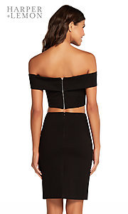 Image of short black off-shoulder two-piece homecoming dress. Style: AL-HL-107 Back Image