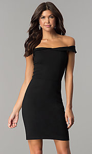 Image of short off-the-shoulder sheath party dress. Style: AL-HL-100 Front Image