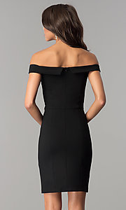 Image of short off-the-shoulder sheath party dress. Style: AL-HL-100 Back Image