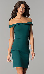 Image of short off-the-shoulder sheath party dress. Style: AL-HL-100 Detail Image 2