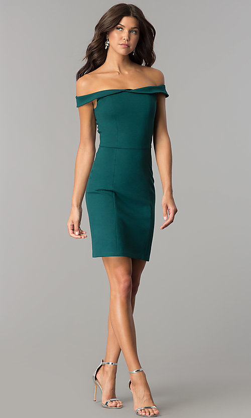 Image of short off-the-shoulder sheath party dress. Style: AL-HL-100 Detail Image 3