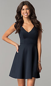 Image of short v-neck open-back navy blue homecoming dress. Style: AL-HL-103 Front Image