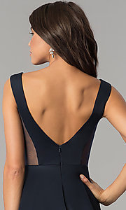 Image of short v-neck open-back navy blue homecoming dress. Style: AL-HL-103 Detail Image 1