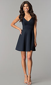 Image of short v-neck open-back navy blue homecoming dress. Style: AL-HL-103 Detail Image 3