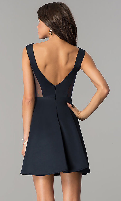 Image of short v-neck open-back navy blue homecoming dress. Style: AL-HL-103 Back Image