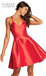 Image of short v-neck fit-and-flare homecoming dress. Style: AL-HL-109 Detail Image 1