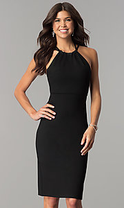 Knee-Length High-Neck Open-Back Homecoming Dress