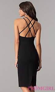 Image of knee-length high-neck open-back homecoming dress. Style: AL-HL-110 Back Image